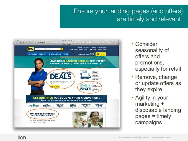 © i-on interactive, inc. All rights reserved • www.ioninteractive.com Ensure your landing pages (and offers) are timely an...