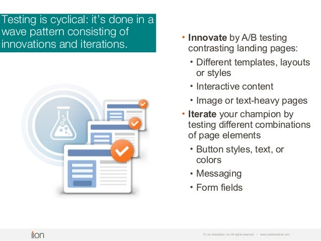 Testing is cyclical: it's done in a wave pattern consisting of innovations and iterations. © i-on interactive, inc. All ri...