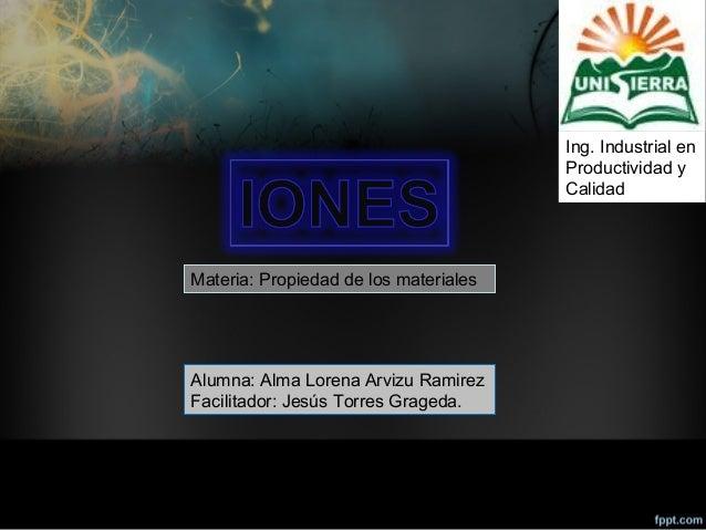 Ing. Industrial en Productividad y Calidad Alumna: Alma Lorena Arvizu Ramirez Facilitador: Jesús Torres Grageda. Materia: ...
