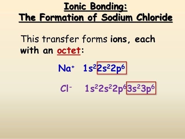 Ionic Bonding: The Formation of Sodium Chloride Cl- 1s22s22p63s23p6 Na+ 1s22s22p6 This transfer forms ions, each with an o...