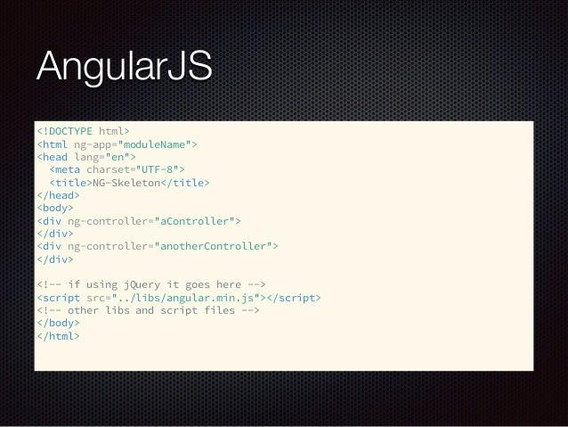 "AngularJS <!DOCTYPE html> <html ng-app=""moduleName""> <head lang=""en""> <meta charset=""UTF-8""> <title>NG-Skeleton</title..."