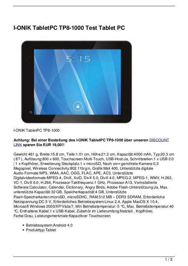 I-ONIK TabletPC TP8-1000 Test Tablet PCI-ONIK TabletPC TP8-1000Achtung: Bei einer Bestellung des I-ONIK TabletPC TP8-1000 ...