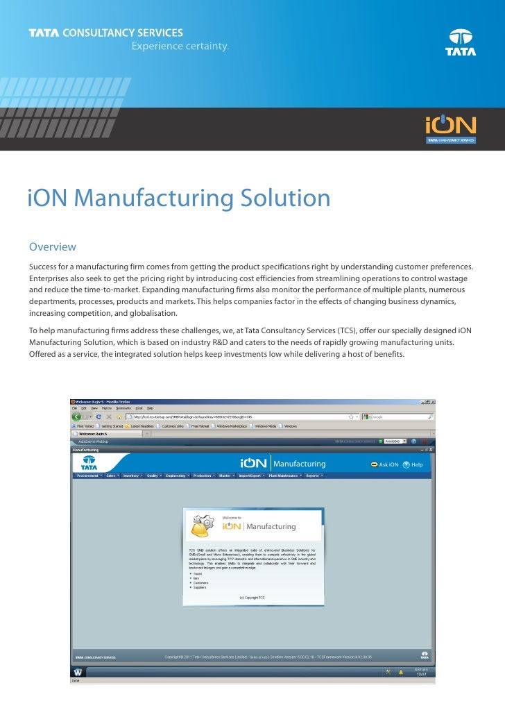 iON Manufacturing SolutionOverviewSuccess for a manufacturing firm comes from getting the product specifications right by ...