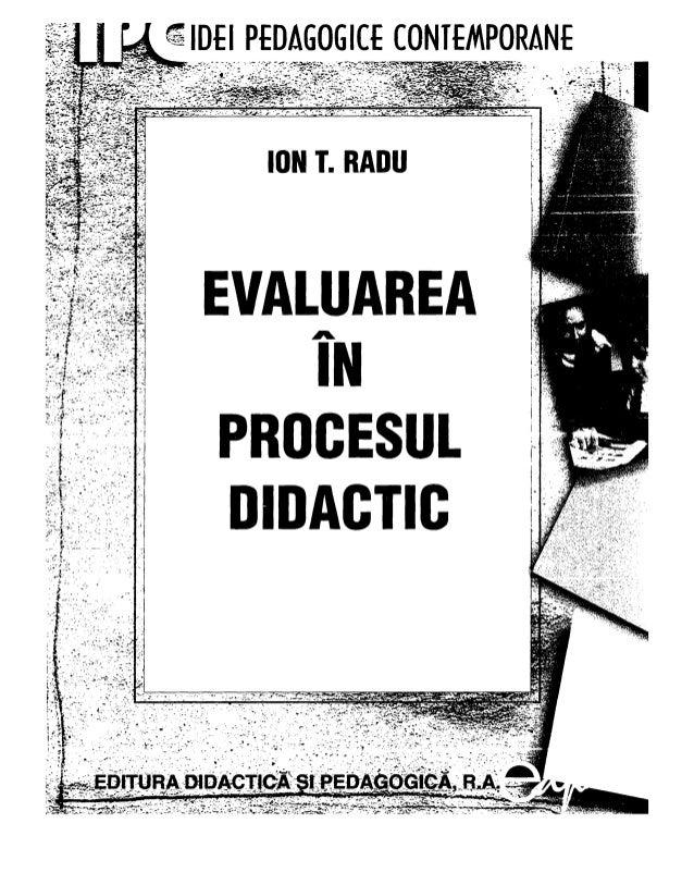 Ion t radu   evaluarea in procesul didactic