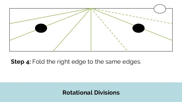 Rotational Divisions Step 5: Flip the paper over, and make the following folds with the left-top edge.