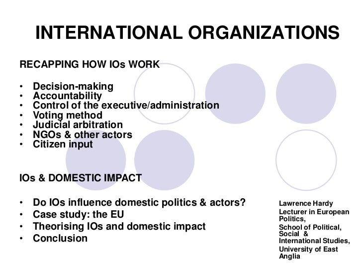 INTERNATIONAL ORGANIZATIONSRECAPPING HOW IOs WORK•   Decision-making•   Accountability•   Control of the executive/adminis...