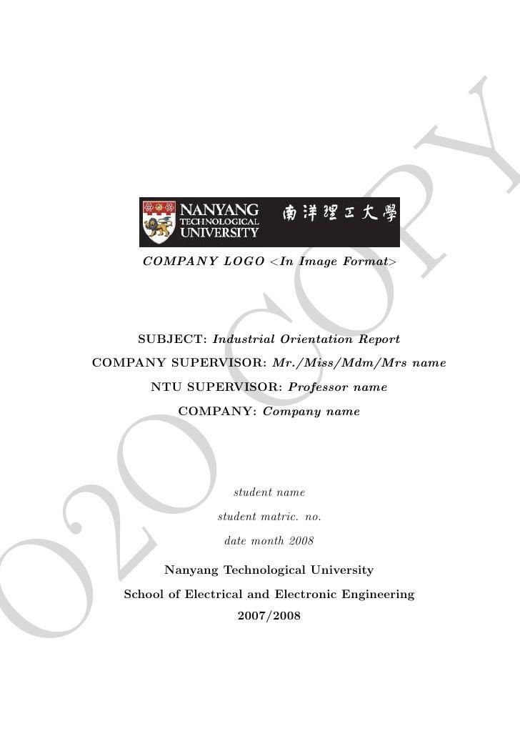 PY          COMPANY LOGO <In Image Format>               CO          SUBJECT: Industrial Orientation Report     COMPANY SU...