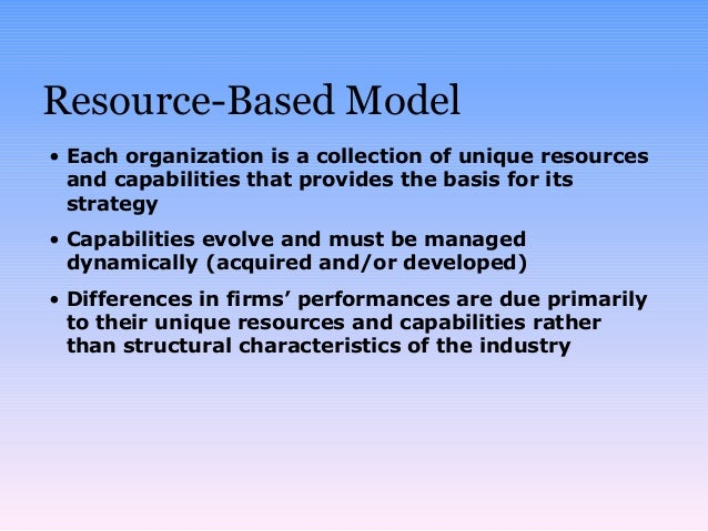 resource based view essay example Strategic thinking and strategic management are the most important activities undertaken by global business how skillfully business activities are carried out.