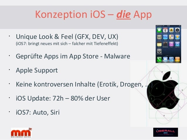 Konzeption iOS - GeräteiPhone1st3G3GS44S5iPod Touch1st2nd3rd4th5thiPad1st2nd3rd4thMiniApple TV 2nd/3rdMarketshare:iPhone: ...