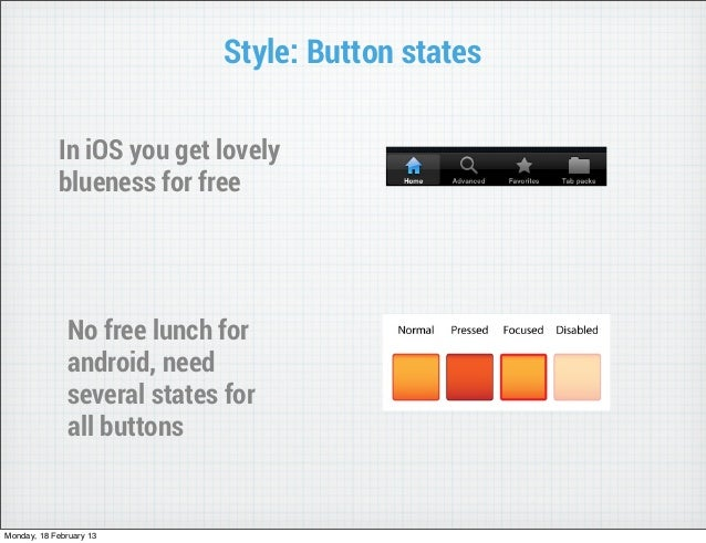Style: Button states            In iOS you get lovely            blueness for free               No free lunch for        ...