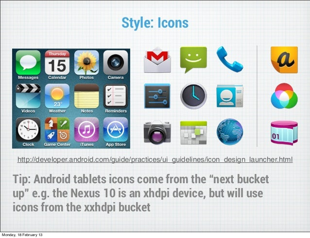 Style: Icons        http://developer.android.com/guide/practices/ui_guidelines/icon_design_launcher.html     Tip: Android ...