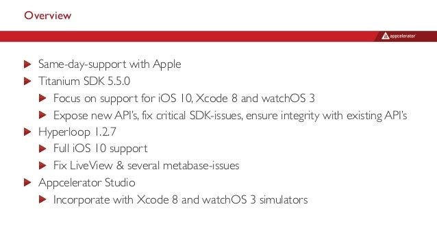 Overview Same-day-support with Apple Titanium SDK 5.5.0 Focus on support for iOS 10, Xcode 8 and watchOS 3 Expose new API'...