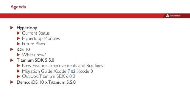 Agenda Hyperloop Current Status Hyperloop Modules Future Plans iOS 10 What's new? Titanium SDK 5.5.0 New Features, Improve...