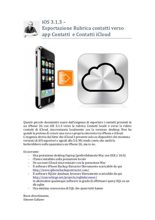 iOS 3.1.3 –                         Esportazione Rubrica contatti verso                        app Conta...