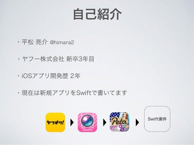 自己紹介 ・平松 亮介 @himara2 ・iOSアプリ開発歴 2年 ・ヤフー株式会社 新卒3年目 ・現在は新規アプリをSwiftで書いてます Swift案件