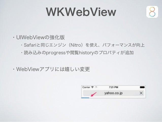 WKWebView ・UIWebViewの強化版 ・Safariと同じエンジン(Nitro)を使え、パフォーマンスが向上 ・読み込みのprogressや閲覧historyのプロパティが追加 ・WebViewアプリには嬉しい変更