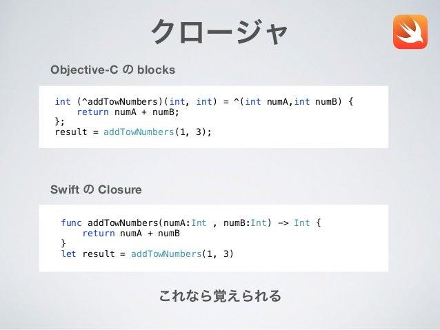 クロージャ func addTowNumbers(numA:Int , numB:Int) -> Int { return numA + numB } let result = addTowNumbers(1, 3) Swift の Closu...