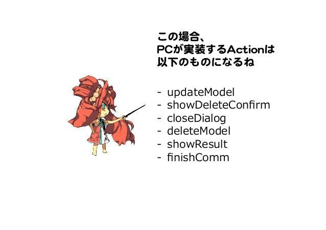 この場合、   PPCCが実装するAAccttiioonnは   以下のものになるね   -‐‑‒ updateModel -‐‑‒ showDeleteConfirm -‐‑‒ closeDialog -‐‑‒ deleteModel ...