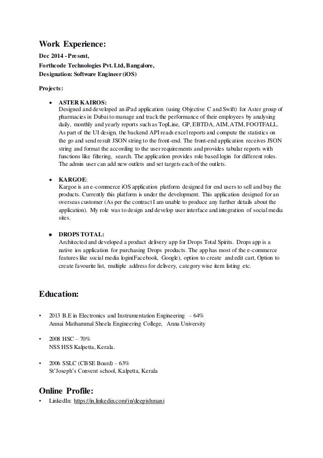 2 - Ios Developer Resume