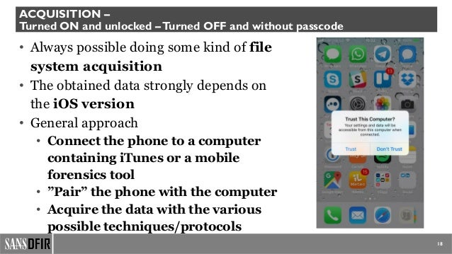 iOS Forensics: where are we now and what are we missing?