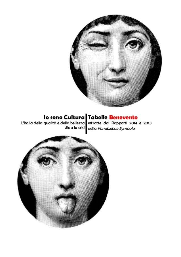 Io sono Cultura L'Italia della qualità e della bellezza sfida la crisi Tabelle Benevento estratte dai Rapporti 2014 e 2013...