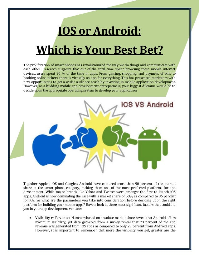 IOS or Android: Which is Your Best Bet? The proliferation of smart phones has revolutionized the way we do things and comm...