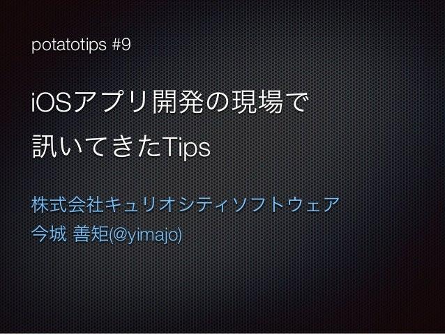 potatotips #9  iOSアプリ開発の現場で  訊いてきたTips  株式会社キュリオシティソフトウェア  今城 善矩(@yimajo)