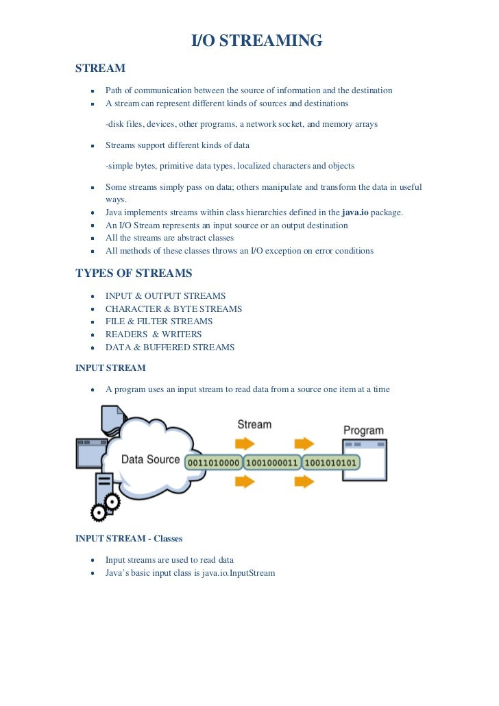 I/O STREAMING<br />STREAM<br /><ul><li>Path of communication between the source of information and the destination