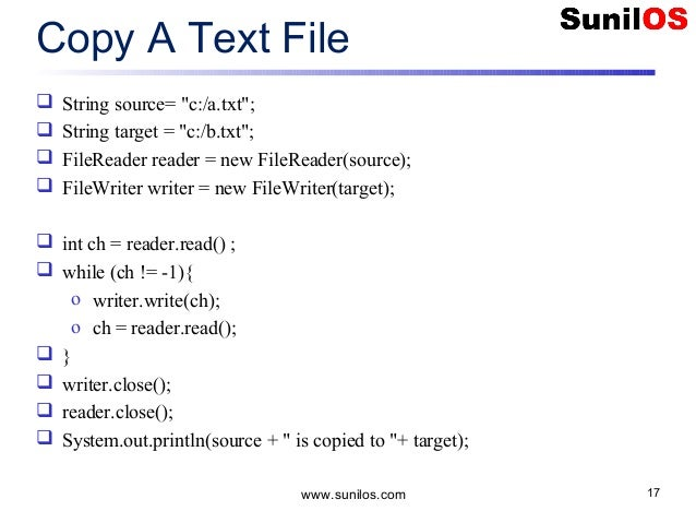 java program to write into a text file