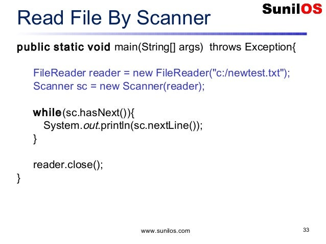 Read files with the scanner object