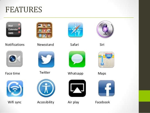 FEATURESNotifications   Newsstand       Safari      SiriFace time        Twitter       Whatsapp    Maps Wifi sync      Acc...