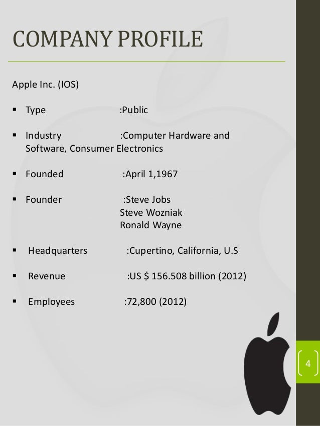 a company overview and history of apple inc Apple inc (aapl:nsq) company profile with history, revenue, mergers & acquisitions, peer analysis, institutional shareholders and more.