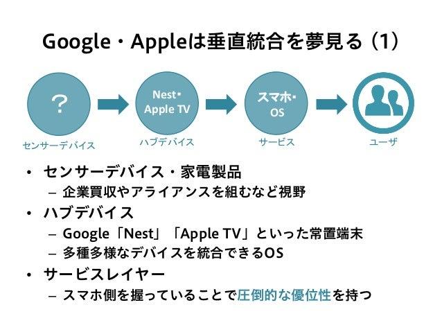 Google・Appleは垂直統合を夢見る (1) • センサーデバイス・家電製品 – 企業買収やアライアンスを組むなど視野 • ハブデバイス – Google「Nest」「Apple TV」といった常置端末 – 多種多様なデバイスを...