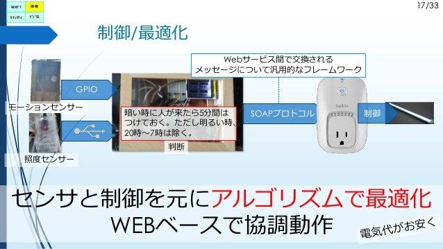 17/33 制御/最適化 センサと制御を元にアルゴリズムで最適化 WEBベースで協調動作 モーションセンサー SOAPプロトコル Webサービス間で交換される メッセージについて汎用的なフレームワーク 照度センサー 暗い時に人が来たら5分間は ...