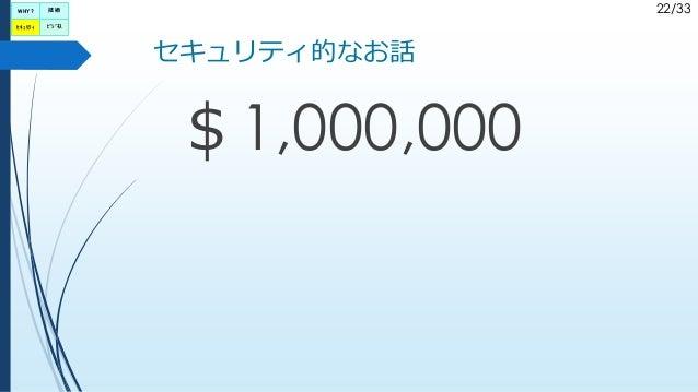 22/33 セキュリティ的なお話 $1,000,000 WHY? セキュリティ ビジネス 技術