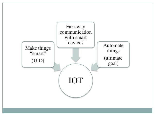 """IOT Make things """"smart"""" (UID) Far away communication with smart devices Automate things (ultimate goal)"""