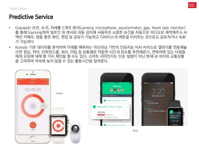 Trend Driver Predictive Service • Gravaa는 모션, 소리, 자세를 5개의 센서(camera, microphone, accelermeter, gps, heart rate monitor) 를 ...
