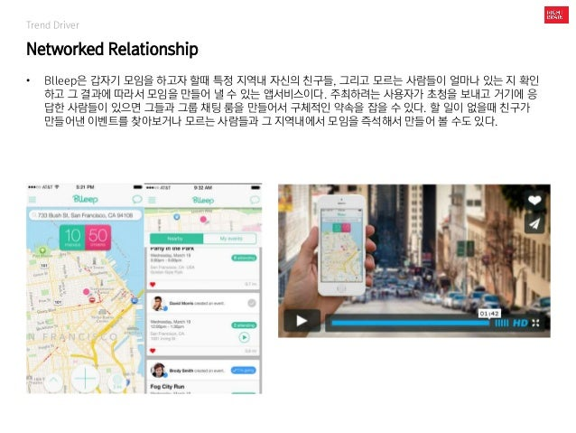 Trend Driver Networked Relationship • Blleep은 갑자기 모임을 하고자 할때 특정 지역내 자신의 친구들, 그리고 모르는 사람들이 얼마나 있는 지 확인 하고 그 결과에 따라서 모임을 만들어...