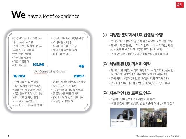 4 The enclosed material is proprietary to RightBrain We havea lotof experience 제품 웹/모바일 선행연구 • 삼성SDS 사내 시스템 (4) • 웅진 MRO 시...