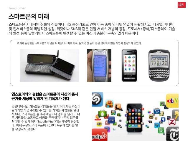 스마트폰의 미래 Trend Driver 스마트폰은 시대적인 진화의 산물이다. 3G 통신기술로 인해 이동 중에 인터넷 연결이 원활해지고, 디지털 미디어 및 웹서비스들의 폭발적인 성장, 위젯이나 SNS와 같은 단일 서비스 ...