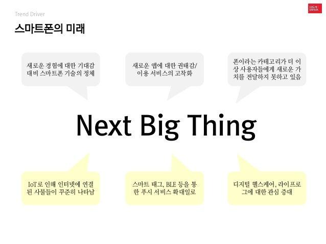스마트폰의 미래 Trend Driver Next Big Thing 새로운 경험에 대한 기대감 대비 스마트폰 기술의 정체 새로운 앱에 대한 권태감/ 이용 서비스의 고착화 폰이라는 카테고리가 더 이 상 사용자들에게 새로운 ...