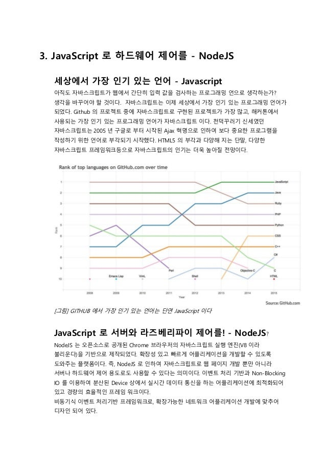 3. JavaScript 로 하드웨어 제어를 - NodeJS 세상에서 가장 인기 있는 언어 - Javascript 아직도 자바스크립트가 웹에서 간단히 입력 값을 검사하는 프로그래밍 언으로 생각하는가? 생각을 바꾸어야 할...