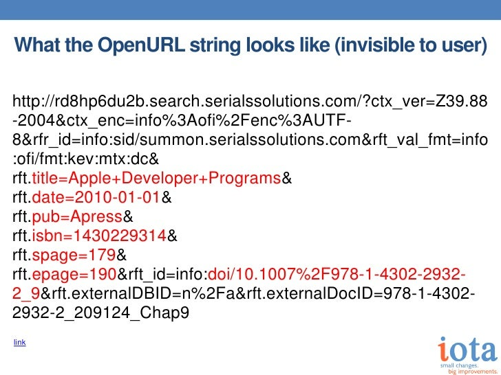 What the OpenURL string looks like (invisible to user)http://rd8hp6du2b.search.serialssolutions.com/?ctx_ver=Z39.88-2004&c...