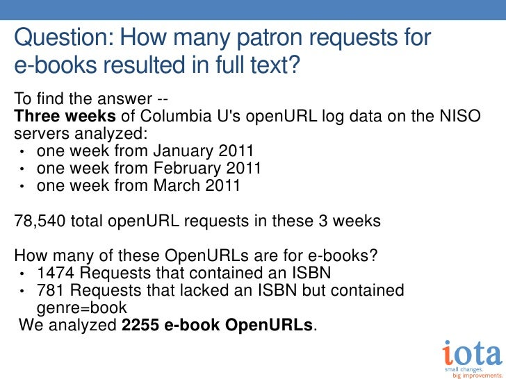 Question: How many patron requests fore-books resulted in full text?To find the answer --Three weeks of Columbia Us openUR...