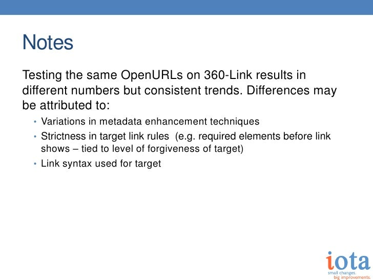 NotesTesting the same OpenURLs on 360-Link results indifferent numbers but consistent trends. Differences maybe attributed...