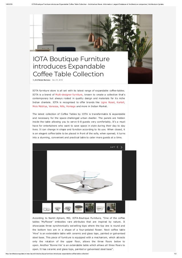 Iota boutique furniture introduces expandable coffee table collection…