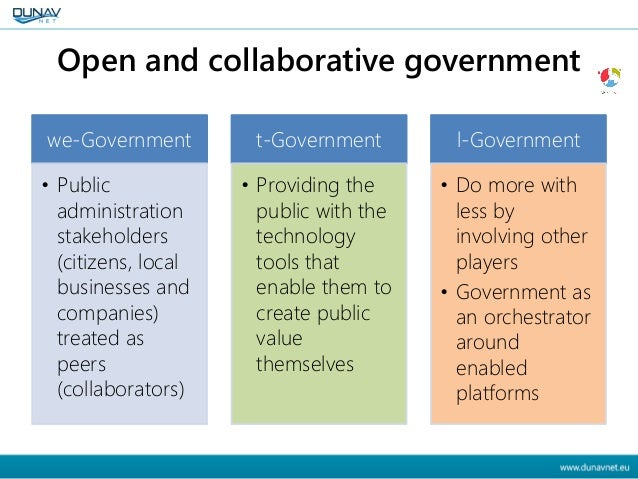 Open and collaborative government we-Government • Public administration stakeholders (citizens, local businesses and compa...