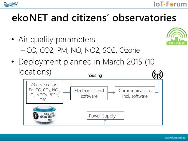 ekoNET and citizens' observatories • Air quality parameters – CO, CO2, PM, NO, NO2, SO2, Ozone • Deployment planned in Mar...