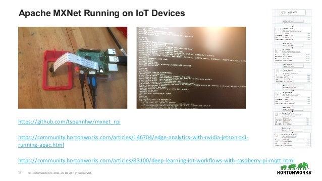 17 © Hortonworks Inc. 2011–2018. All rights reserved. Apache MXNet Running on IoT Devices https://community.hortonworks.co...