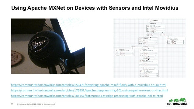 19 © Hortonworks Inc. 2011–2018. All rights reserved. Using Apache MXNet on Devices with Sensors and Intel Movidius https:...